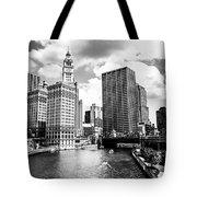 Chicago Downtown At Michigan Avenue Bridge Picture Tote Bag