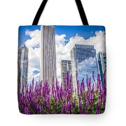 Chicago Downtown Buildings And Spring Flowers Tote Bag