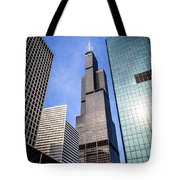 Chicago Downtown City Buildings With Willis-sears Tower Tote Bag