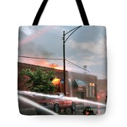 Chicago Firemen At Work Tote Bag
