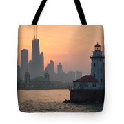Chicago Harbor Lighthouse At Sunset Tote Bag
