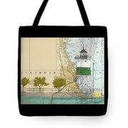 Chicago Harbor Se Guidewall Lighthouse Il Nautical Chart Art Tote Bag