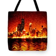 Chicago Hell Digital Painting Tote Bag