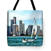Chicago Il - Sailboat Against Chicago Skyline Tote Bag