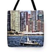 Chicago Il - Sailing On Lake Michigan Tote Bag