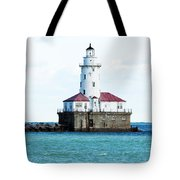 Chicago Illinois Harbor Lighthouse Close Up Usa Tote Bag
