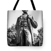 Chicago Lincoln Standing Statue In Black And White Tote Bag by Paul Velgos