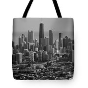 Chicago Looking East 01 Black And White Tote Bag