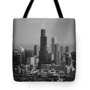 Chicago Looking East 02 Black And White Tote Bag