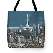 Chicago Looking West In A Snow Storm Digital Art Tote Bag