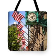 Chicago Macy's Clock And Chicago Theatre Sign Tote Bag