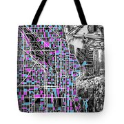Chicago Map Drawing Collage 4 Tote Bag