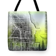 Chicago Map Gradient Tote Bag
