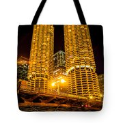 Chicago Marina City Towers At Night Picture Tote Bag