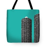 Chicago Skyline Marina Towers - Teal Tote Bag