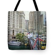 Chicago Michigan Avenue V Hdr Textured Tote Bag