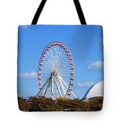 Chicago Navy Pier Ferris Wheel Tote Bag by Christine Till