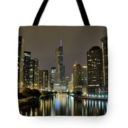 Chicago Night River View Tote Bag