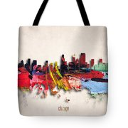 Chicago Painted City Skyline Tote Bag