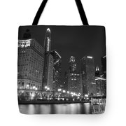 Chicago River At Night Black And White Tote Bag