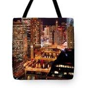 Chicago River At Night Tote Bag