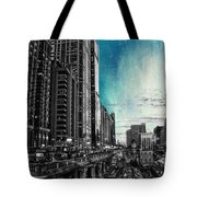 Chicago River Hdr Sc Textured Tote Bag