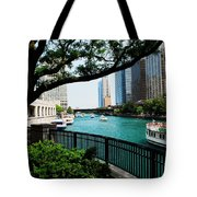 Chicago River Scene Tote Bag
