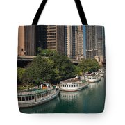 Chicago River Tour Boats Tote Bag