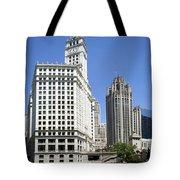Chicago River Walk Wrigley And Tribune Tote Bag