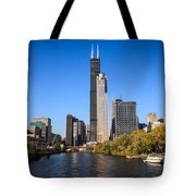 Chicago River With Willis-sears Tower Tote Bag