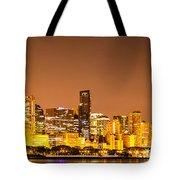 Chicago Skyine At Night Panoramic Photo Tote Bag