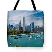 Chicago Skyline Daytime Panoramic Tote Bag by Adam Romanowicz