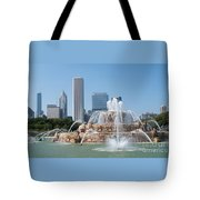 Chicago Skyline And Fountain Tote Bag