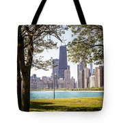 Chicago Skyline And Hancock Building Through Trees Tote Bag