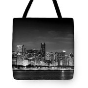 Chicago Skyline At Night Black And White Tote Bag by Jon Holiday