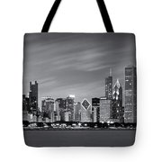 Chicago Skyline At Night Black And White Panoramic Tote Bag