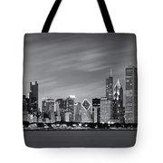 Chicago Skyline At Night Black And White Panoramic Tote Bag