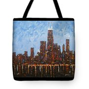 Chicago Skyline At Night From North Avenue Pier Tote Bag