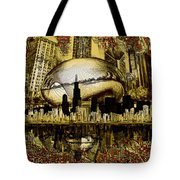 Chicago Skyline Drawing Collage 3 Tote Bag