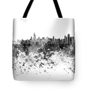 Chicago Skyline In Black Watercolor On White Background Tote Bag