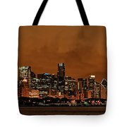 Chicago Skyline Panorama At Dusk Tote Bag