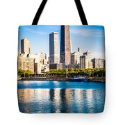 Chicago Skyline Picture With Hancock Building Tote Bag