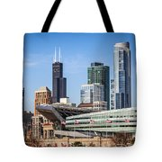 Chicago Skyline With Soldier Field And Sears Tower  Tote Bag