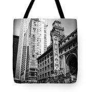 Chicago Theatre Black And White Picture Tote Bag