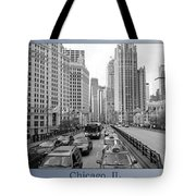 Chicago Triptych 3 Panel Black And White Tote Bag