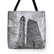 Chicago Water And Hancock Towers Black And White Tote Bag