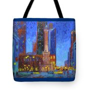 Chicago Water Tower At Night Tote Bag