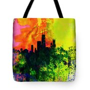 Chicago Watercolor Skyline Tote Bag