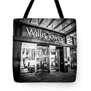 Chicago Willis-sears Tower Sign In Black And White Tote Bag