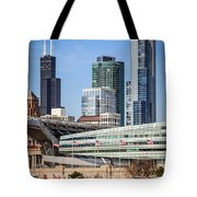 Chicago With Soldier Field And Sears Tower Tote Bag by Paul Velgos